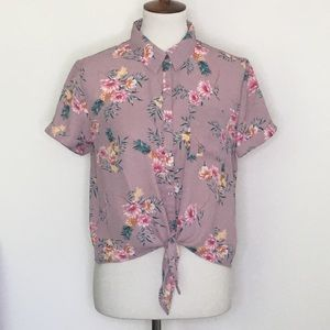Hippie Rose Floral Tie Front Short Sleeve Top